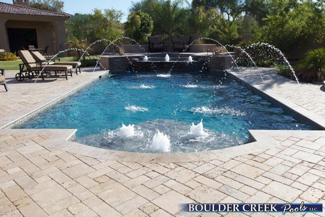 Geometric Pools Designs 2016 apsp region 3 silver award traditionalgeometric designed by mike farley constructed by claffey pools ft worth tx Bb36 Geometric Pool With Deck Jets And Bubblers2