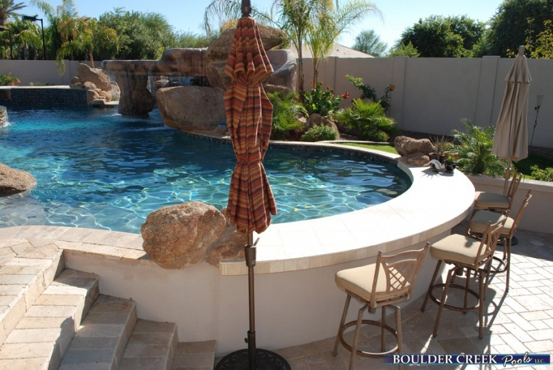 Pool on pinterest above ground pool swim up bar and pools for Pool design with swim up bar