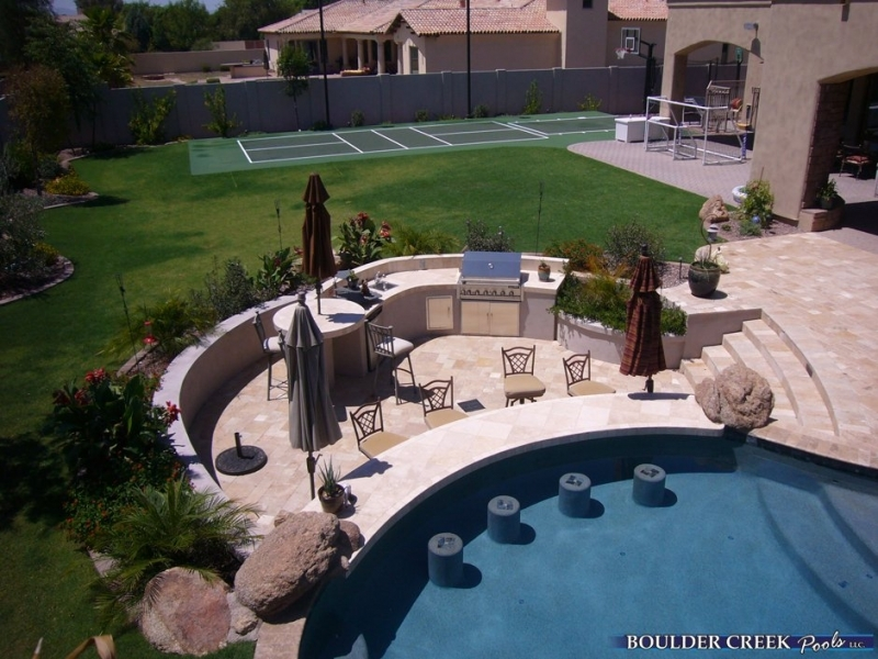 Outdoor Living Space With Pool Covered Patios