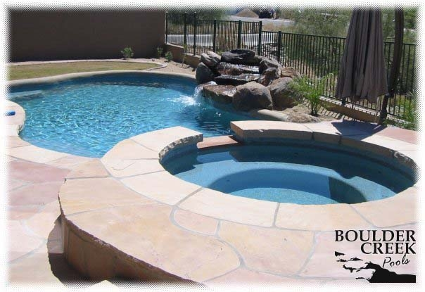 Pools - Pool and Spa with Rolled Bond Beam and Flagstone Deck