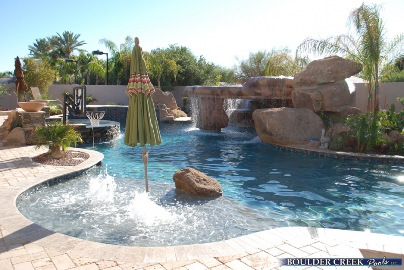 Tropical pools boulder creek pools and spas for Pool design with slide
